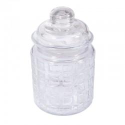 Üveg tároló tetővel - kockás, 280 ml