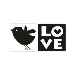Bélyegző kép - madárka, love