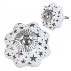 Kerámia bútorgomb, fehér fokhagyma csillagokkal