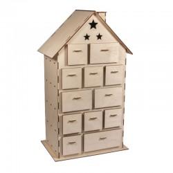 Fa építőkészlet, Adventi naptár házikó - 45 cm, 185 db-os