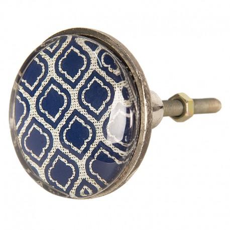 Fém keretesbútorgomb, kék rombusz mintás (5 cm)