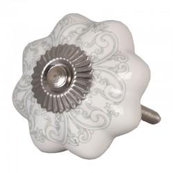 Kerámia bútorgomb, fehér fokhagyma, szürke mintázattal (4,5 cm)