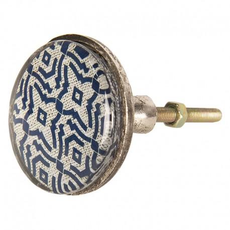 Fémkeretes bútorgomb, kék mintás (5 cm)