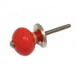 Kerámia bútorgomb, piros gömb (2,5 cm)