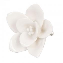 Kerámia bútorgomb, fehér virág  (5 cm)