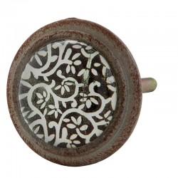 Antikolt fémkeretes bútorgomb, indamintás (4 cm)