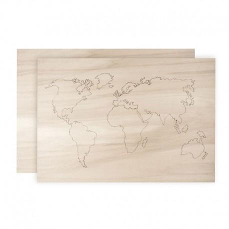 3D Fali dekoráció, világtérkép - 42 x 29,7 cm (2 részes)