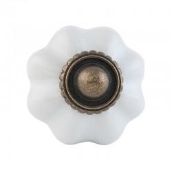 Kerámia bútorgomb, fehér fokhagyma antik (3 cm)