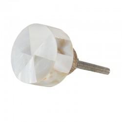 Fémkeretes fehér kő bútorgomb (3,5x3,5 cm)