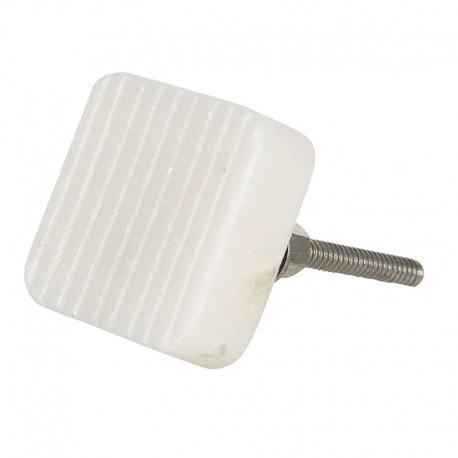 Fehér kő bútorgomb - szögletes, bordás (3x3 cm)