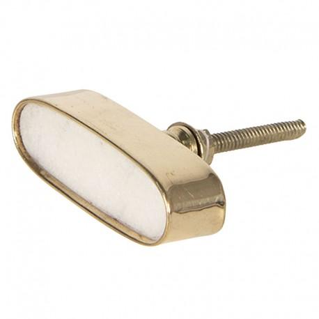 Fémkeretes ovális fehér kő bútorgomb (5x2 cm)