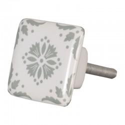 Kerámia bútorgomb, szögletes, fehér-szürke (3,5 cm)