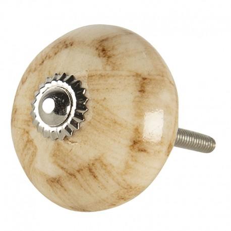 Kerámia bútorgomb, márványos - barna (4 cm)