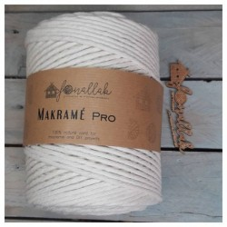 Macrame Pro sodrott makraméfonal, 4 mm (180 m) - natúr