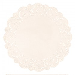 Kerek csipke tortapapír - krémszín, 15 db (21,5 cm)