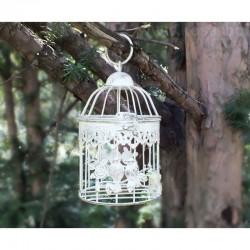 Dekorkalitka madarakkal, fehér (20 cm)