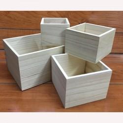 Fa tároló dobozok, 4 db